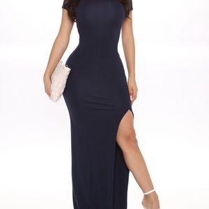Fashion Nova Stroll Maxi Dress Navy XL